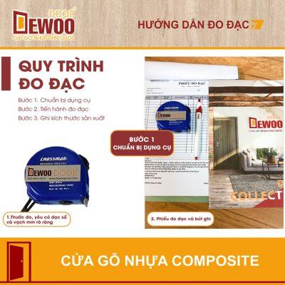 chuẩn bị dụng cụ đo đạc kích thước cửa gỗ nhựa composite