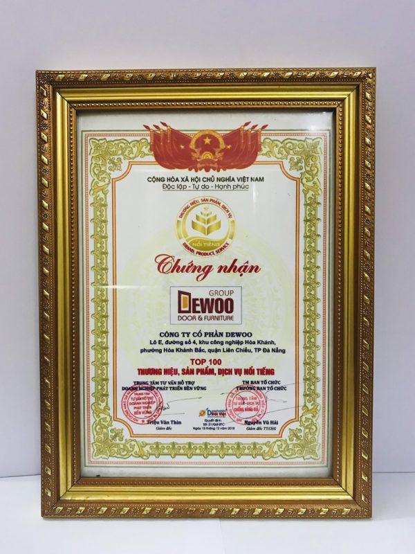 giấy chứng thương hiệu uy tín dewoo